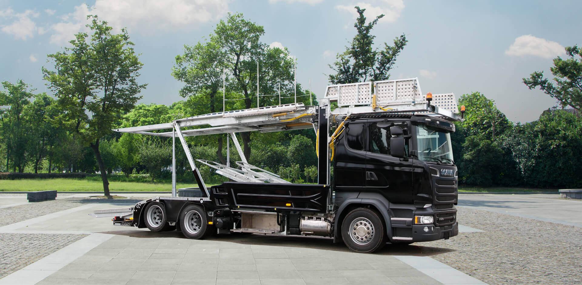 Black MEGATRANS trailer superstructure
