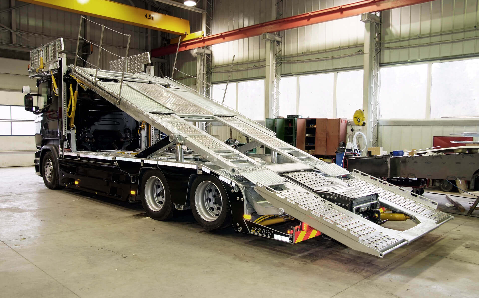 Black MEGATRANS trailer superstructure in factory